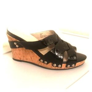 "Black Patent Leather 4"" Wedge High Heel Sandal"
